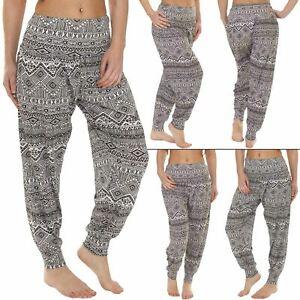 New Womens Ali Baba Harem Aztec Print Ladies Baggy Causal Elasticated Trousers