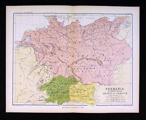 1853 Johnston Map Germania Vindelicia Rhaetia Noricum Ancient