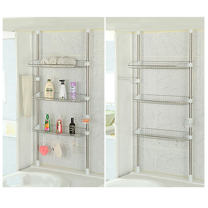 Stainless Steel Wire Bathroom Storage 3 Tier Bathtub Shelf Shower ...