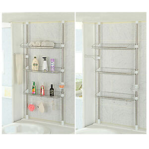... Bathroom Shelves Wire : Stainless Steel Wire Bathroom Storage Tier Bathtub  Shelf ...
