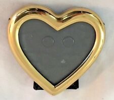 "Goldtone Brass 3X3"" Heart Shaped Frame - Holds 2.5X2.5"" Photo"