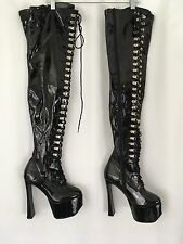 Pleaser Candy 3026 Thigh High Black Patent Sexy Seduction Boots Size 8