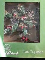 Christmas Tree Topper Woodland Collection Pines Berries Frosted Snow