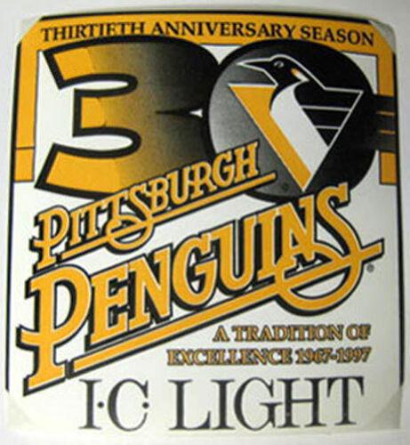 I.C LIGHT Beer STICKER PITTSBURGH PENGUINS 30th Anniversary Season 1967-1997