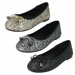 GIRLS CUTIE BOW RIPTAPE STRAP FLAT GLITTER PARTY DOLLY BALLERINA SHOES H2R376