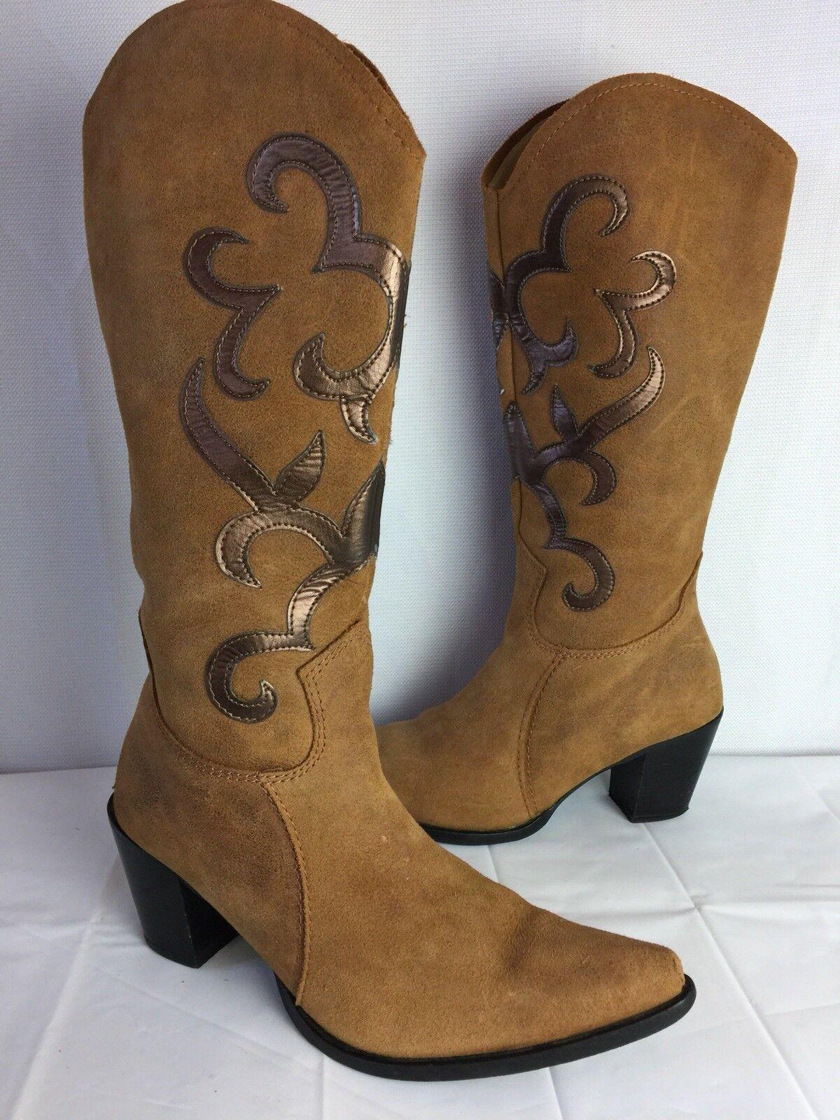 Nine Gamuza West Western Cowboy Gamuza Nine Cuero, Marrón Bronceado bronce, botas para mujer Talla 37 6.5 b2d94e