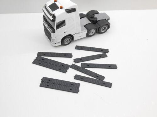 1:87 EM4369 Kibri 10x Riffelblech Platte schmal schwarz für Herpa Umbau Eigenbau