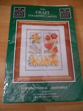 """Craft Collection Large Cross Stitch Kit Spring Florals Daffodils 83962 10.5x13"""""""