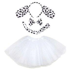 Kids Dalmatian Tutu Costume Fancy Dress Halloween Ears Instant Animal Set New Uk Ebay