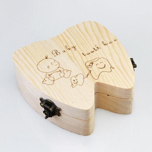 Baby Tooth Box Organizer Milk Teeth Wooden First Tooth Keepsake Kids Storage Box