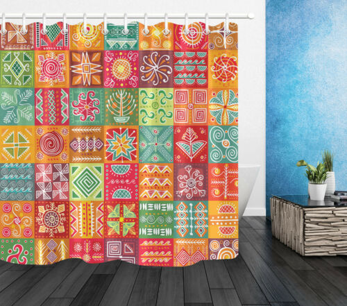 Ethnic Pattern Patchwork Waterproof Fabric Shower Curtains Set Bathroom Curtain
