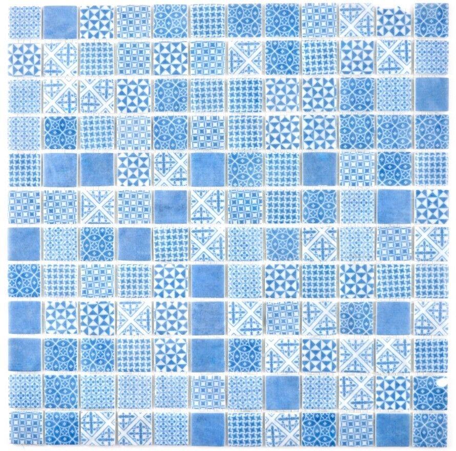 Retro Vintage Mosaik Fliese ECO Recycling GLAS ECO blau   145-P-40_f 10Matten