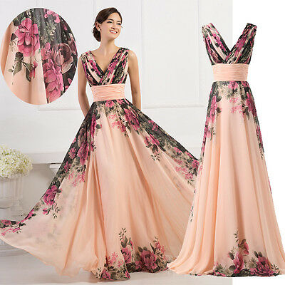 Floral Chiffon Ball Party Cocktail Gown Long Evening Prom Formal Dress Plus Size