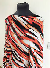Retro 60's Inspired Paintbrush Stripe Print Stretch Jersey Dressmaking Fabric