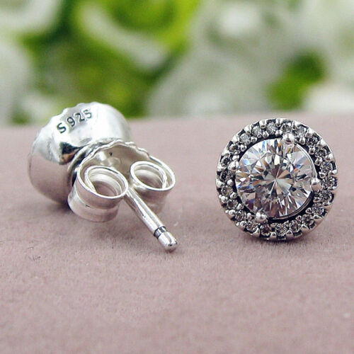 Authentic 100/% 925 Sterling Silver Classic Elegance Clear CZ Stud Earrings