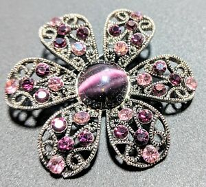 Purple Rhinestones And Glass Center Filigree Silver Tone Pin Brooch 70s