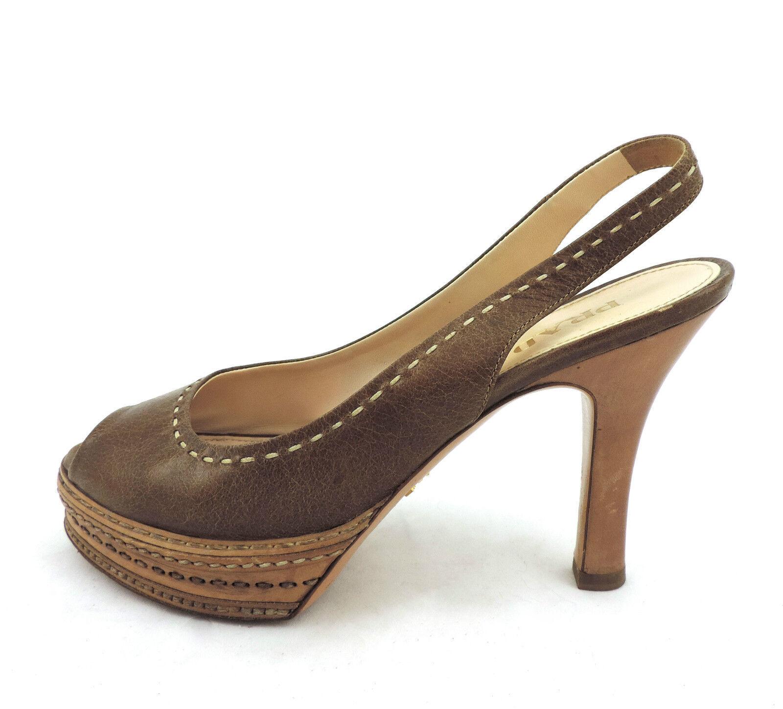 Prada de salón 36 plataforma sandalia tacones marrón Top