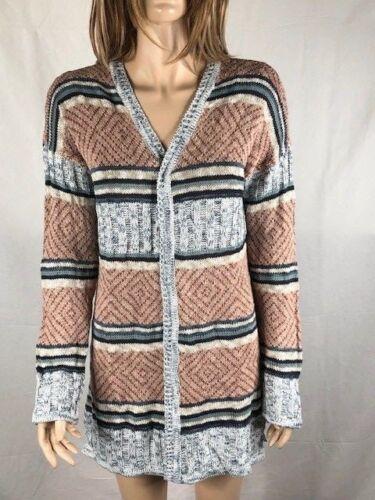Women/'s NWT hippie Rose Striped Cardigan Sweater Turqcombo