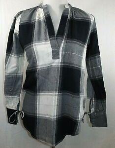 Ann-Taylor-LOFT-Women-039-s-Size-XS-Shirt-Blouse-Long-Sleeve-Black-White-Gray-Silver