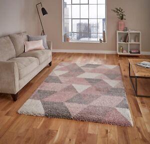 royal nomadic 7611 shaggy rug 120x170 160x220 pink grey. Black Bedroom Furniture Sets. Home Design Ideas