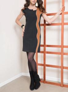 53eb077a25f5 Edas Tricarico abito donna vestito manica corta tubino aderente NERO ...
