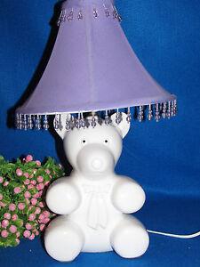 "WHITE CERAMIC TEDDY BEAR DESK TABLE LAMP W PURPLE CLOTH SHADE W BEADS 17"" TALL"