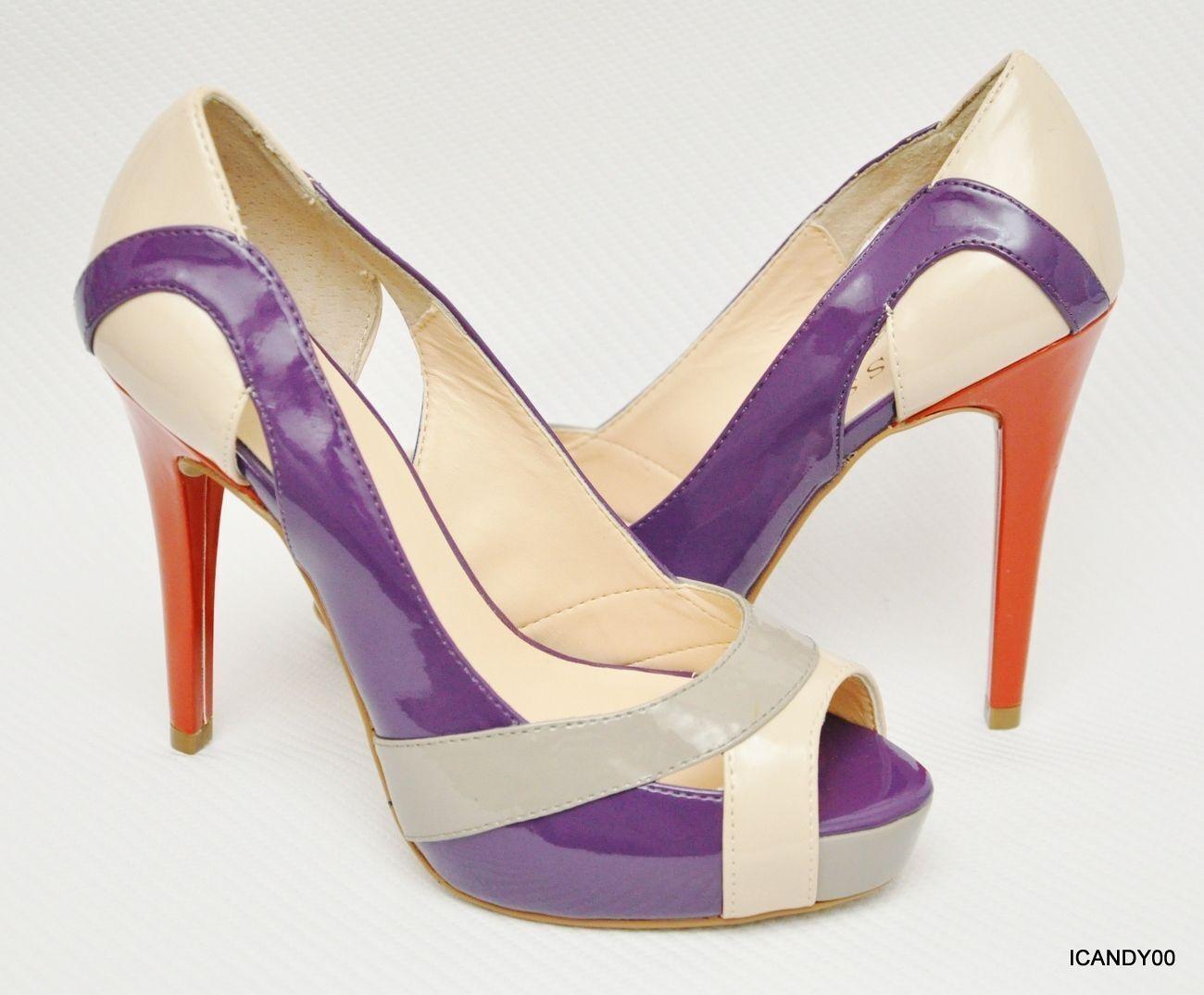 New Guess VICKI Peep Toe Platform Multi Pump Heel Patent Schuhe Multi Platform 9.5 59c520