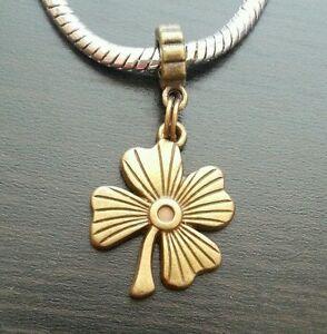 Lucky-Four-4-Leaf-Clover-Good-Luck-Dangle-Bead-for-European-Style-Charm-Bracelet
