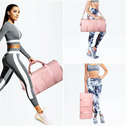 Pink Sport Gym Bag Large Travel Duffel Bag with Shoe Compartment Wet Pocket