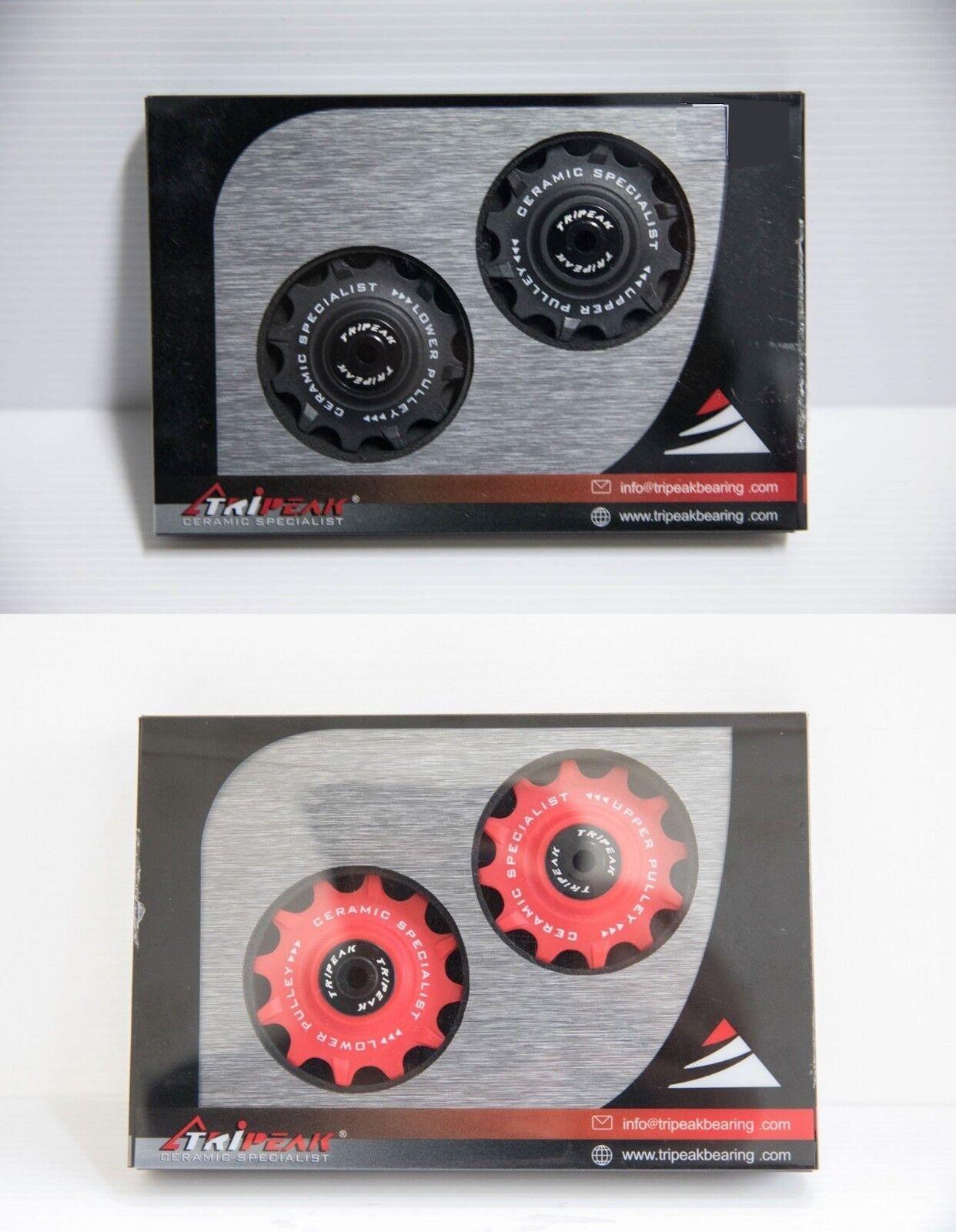 Tripeak Super de cerámica de 12-12 Dientes Shimano compatible Carretera & Mtb, Negro Y Rojo