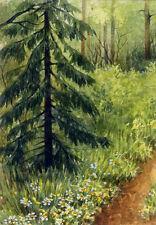 ACEO Original Miniature Watercolor Painting Landscape by Elena Mezhibovsky
