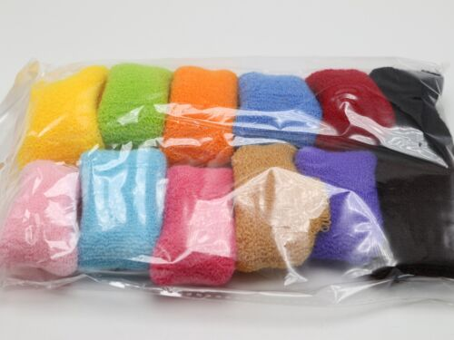 12 Sport Elastic Scrunchie Hair Bands Wristband Towelling Gym Ponytail Holder