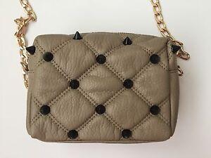 d37101420407 Deux Lux~Empress Studded Mini Crossbody Bag purse~Beige~Black Studs ...