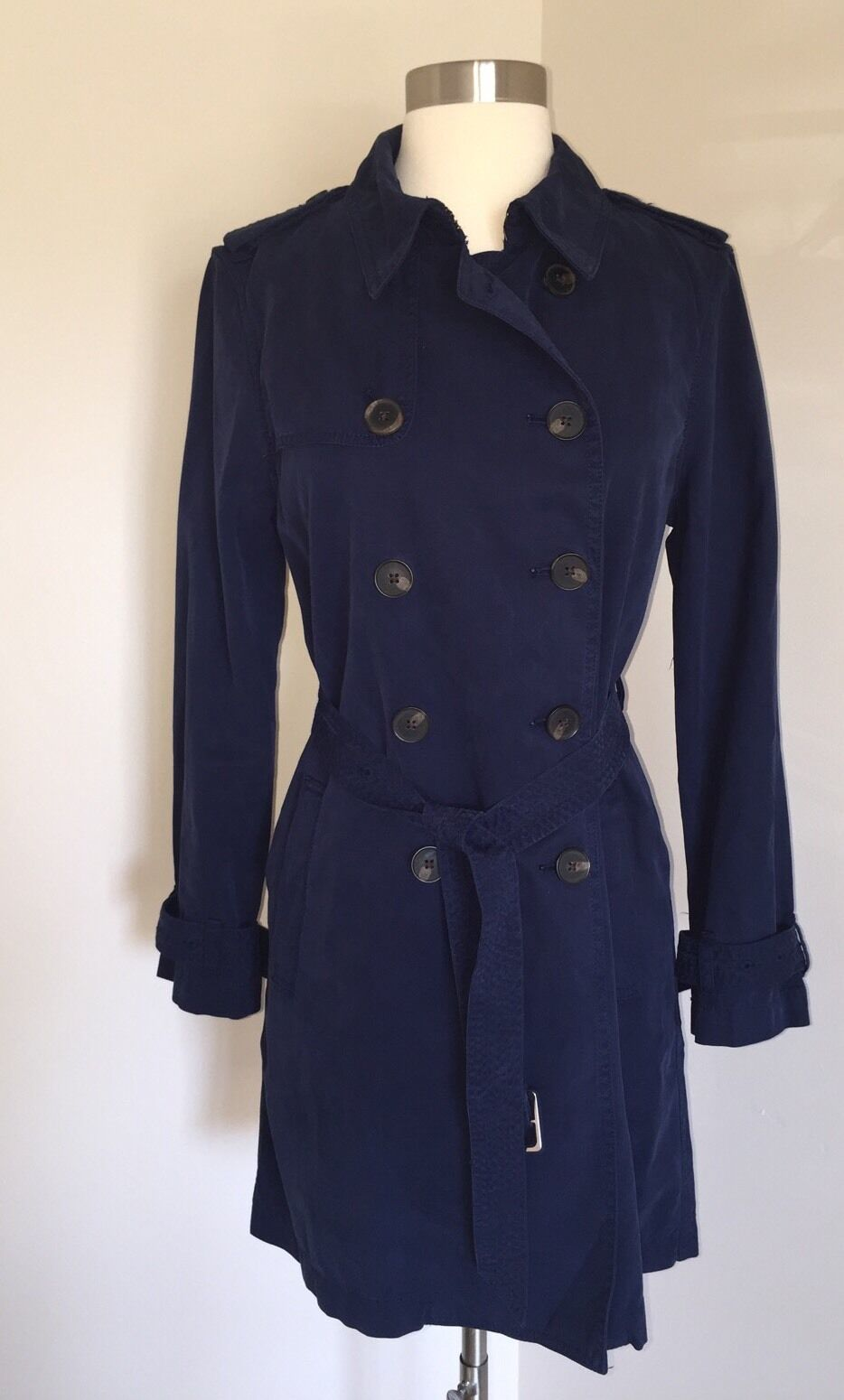 JCrew  Petite Washed Cotton Trenched Coat Sz 10P Navy E8252 NEW