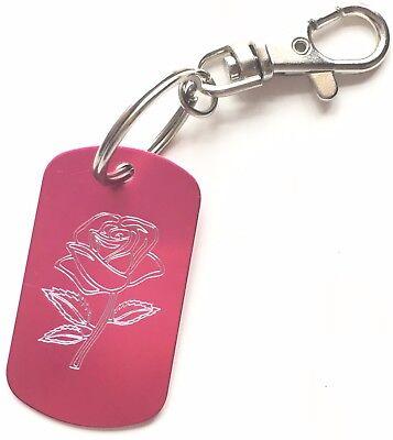 Charles Rennie Mackintosh Pink Rose Metal Keyring