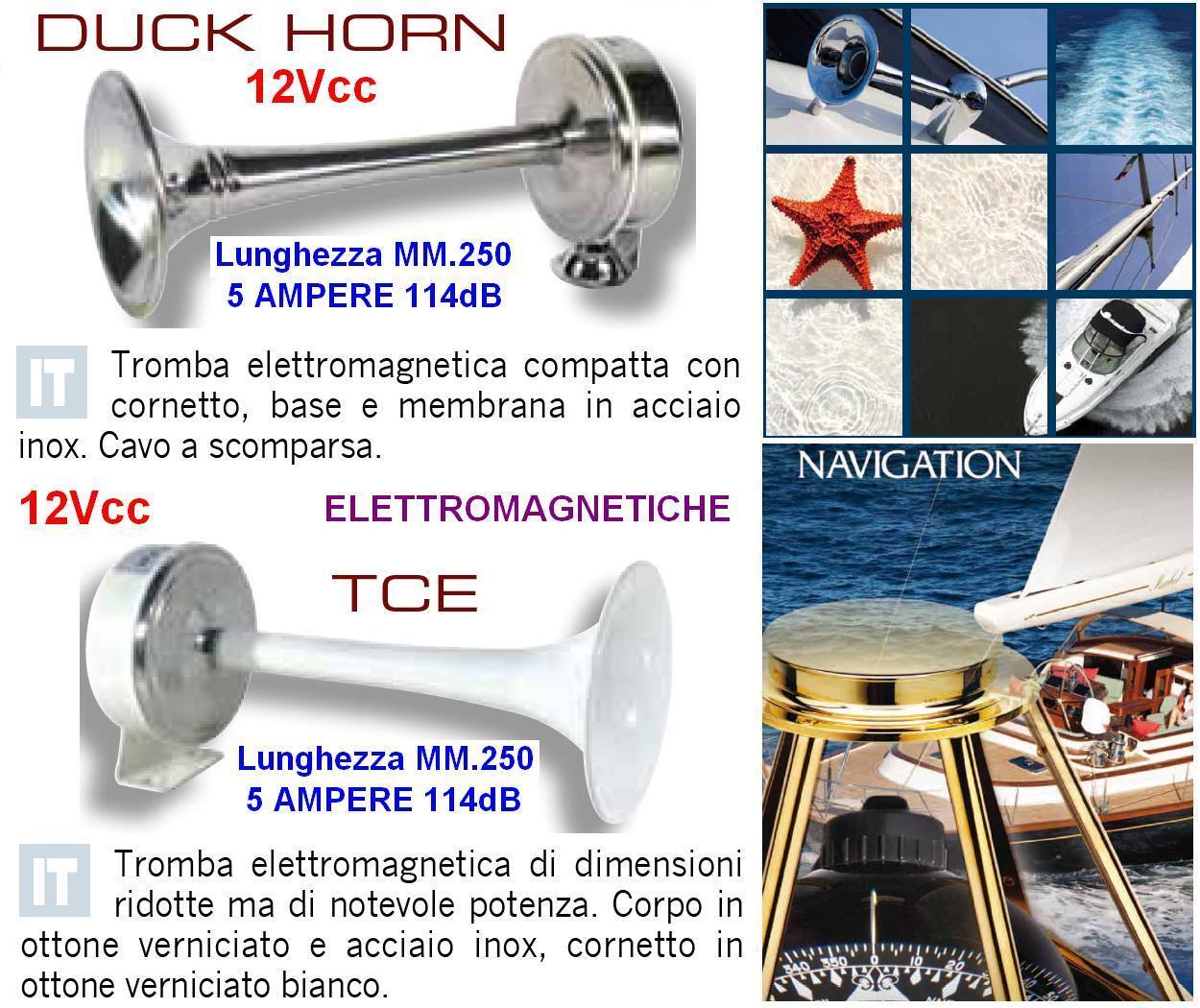 Trompete 12V NAUTICA TCE Messing weiß Cm.25 elektromagnetischen 12V Trompete 114dB Stiefel und 3b1915