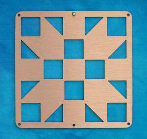 Mini-Barn-Quit-Metal-2-5-034-Copper-Quilt-Block-Sister-039-s-Choice-Pattern