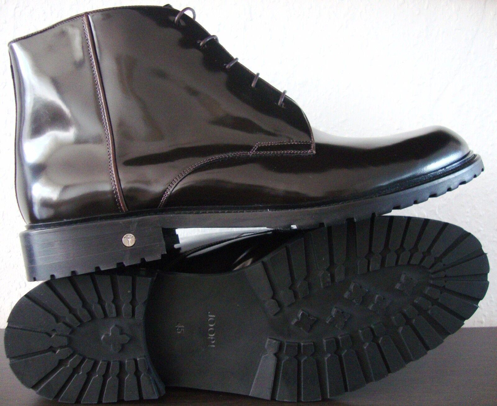 JOOP  Stiefel Herren Stiefelette Lack Schuhe Echtleder Dunkelbraun Gr.45 NEU