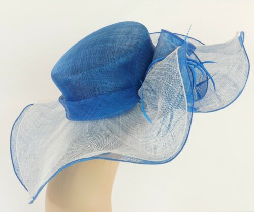 New Church Derby Wedding Party Sinamay 2 Layers Dress Hat 1765 Blue /& Off White
