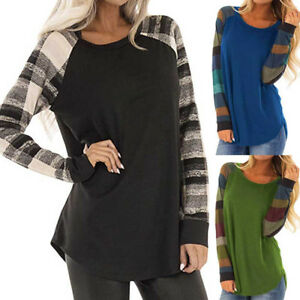 Women-Stripe-Cotton-Casual-Top-T-Shirt-Loose-Long-Sleeve-Tunic-Tops-Blouse