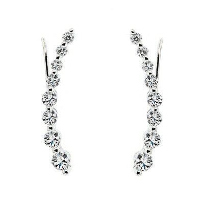 ESQDT003A .925 Sterling Silver Cz Ear Climber Earrings with Fish Hook