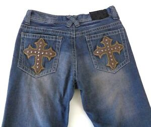 Xtreme-Couture-31-x-28-Jeans-Straight-Leg-Fit-Medium-Wash-Studded-Leather-Cross