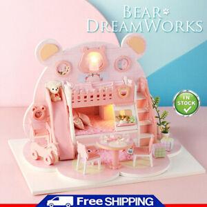 Bear-Shape-DIY-Doll-House-Model-Wooden-Miniature-Dollhouse-Furniture-Kit-Gifts