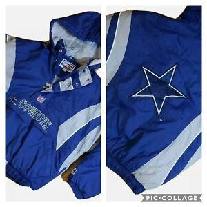 Vintage-90-039-s-STARTER-Dallas-Cowboys-1-2-Zip-Pullover-Jacket-Big-Logo-Large-L