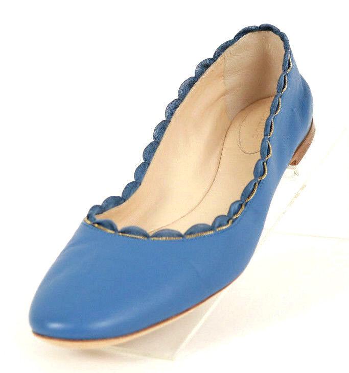 CHLOE Periwinkle bluee Leather Chain Scallop Trim LAUREN Ballet Flats 38