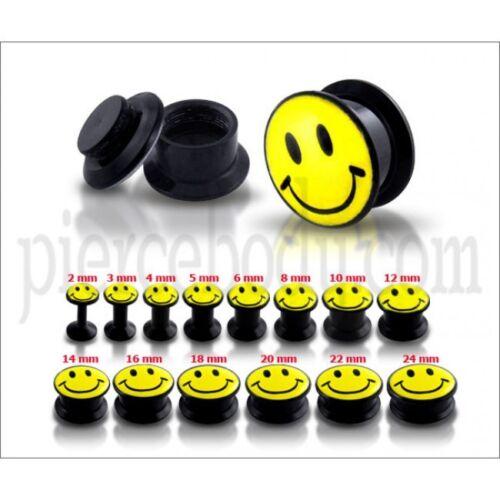 Ear Plug Tunnel Stretcher Screw Fit Smiley Face Logo Acrylic Body Piercing