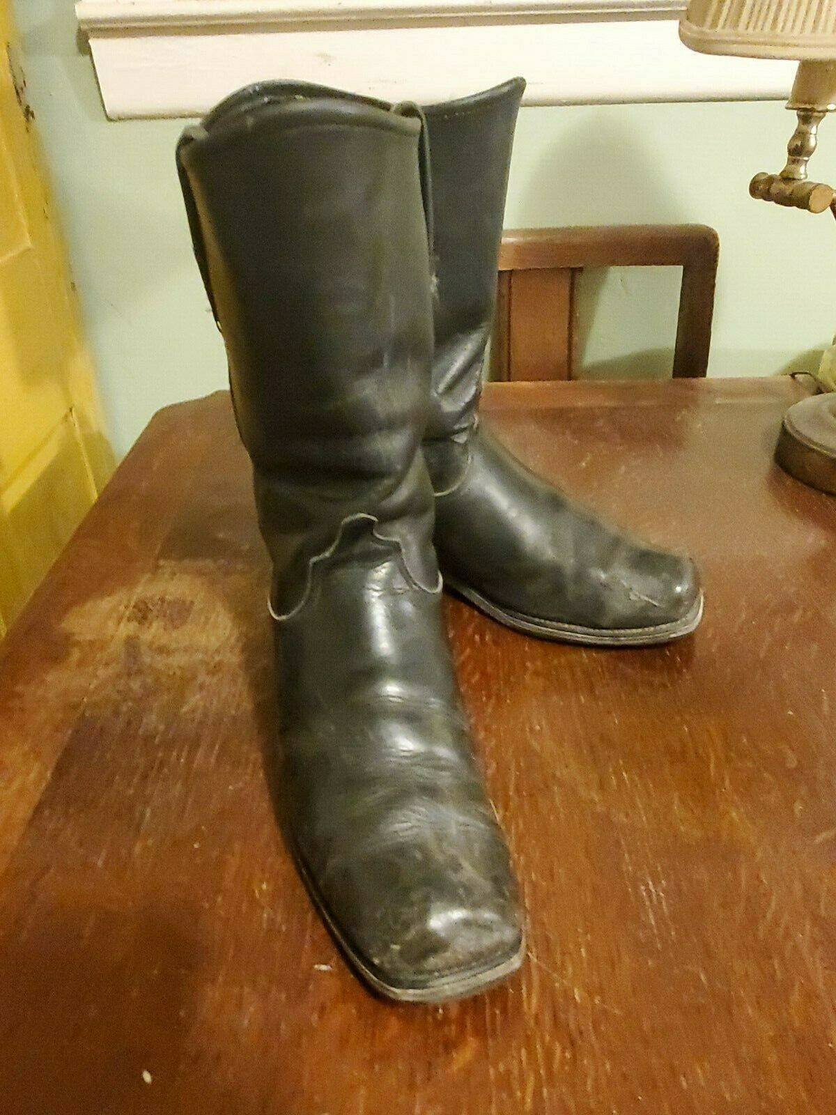 Double HH black biker boots square toe size 10 Distressed Major Cool Factor