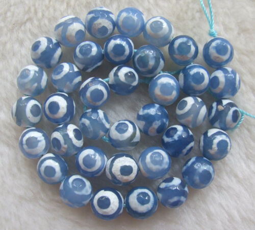 """6mm 8mm 10mm 12mm Blue Natural Agate Faceted Round Loose Beads 15/"""""""