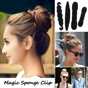 4pcs Magic Sponge Clip Foam Donut Hair Styling Bun Curler Tool Maker Ring Twist