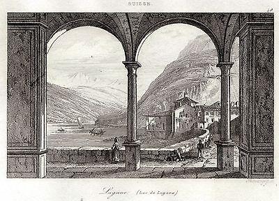 Panorama.Castelli Romani.ACCIAIO.Stampa Antica.Certificato.1832 CASTEL GANDOLFO